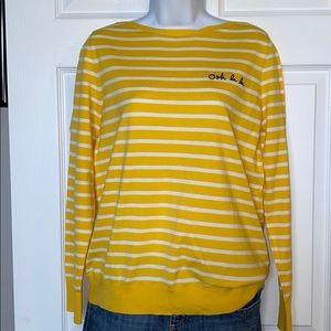 NWT Banana Republic L Yellow and White Stripe Top